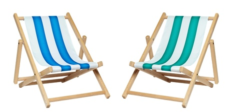 folding chair: Two deck chair isolated against a white background