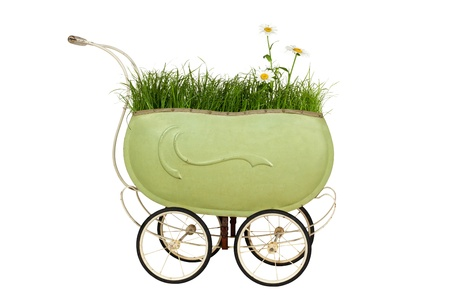Vintage buggy with Grass and Daisy isolated on a white background Stock Photo