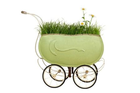 Weinlese-Buggy mit Gras und Gänseblümchen isoliert auf weißem Hintergrund