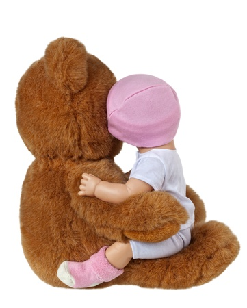 baby doll: Teddy Bear and Doll Embracing Isolated On White Stock Photo