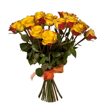 Yellow and Red roses bouquet isolated on white background photo