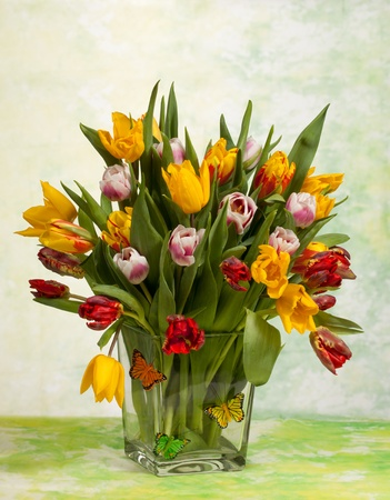 Still Life of a Spring Tulips Bouquet  photo