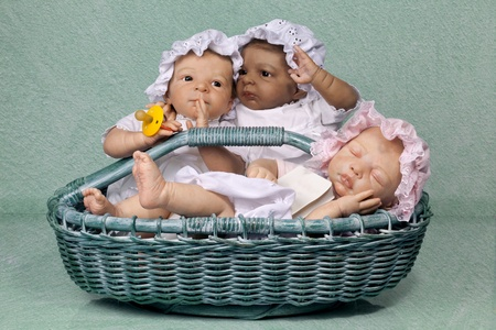 Cute Three Baby with Mop Hat sitting in the Basket photo