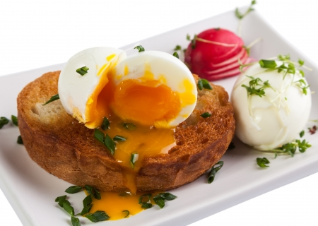 Macro of soft boiled Poached egg and toast