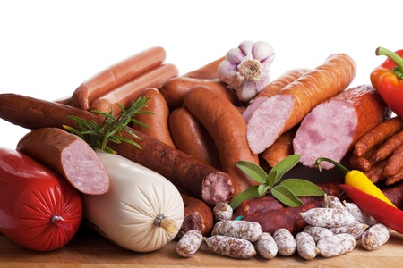 frankfurters: Assortment of cold meats, variety of processed cold meat products