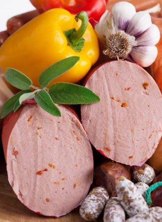 Mortadella with red Peper and Ingredient Stock Photo