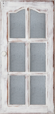 An old wood door panel with glass white paint and grunge, Full Frame Standard-Bild