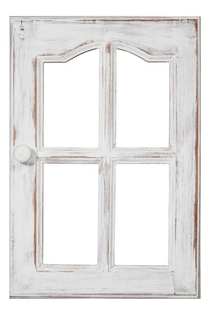 An old wood Window white paint and grunge, Isolated on white photo