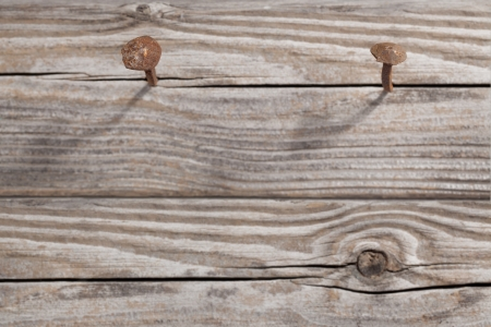 rusty nail: Antique rusty nail embedded in a of wood  Focus is on the head of the nail  Stock Photo