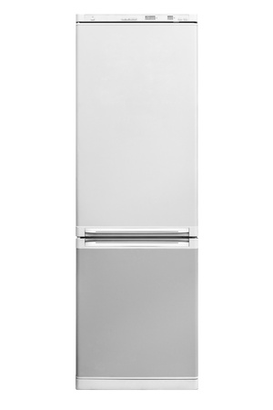 Modern refrigerator isolated on white background photo
