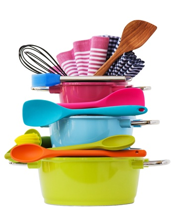 blue white kitchen: stacked cooking equipment Multi Colored, isolated on white