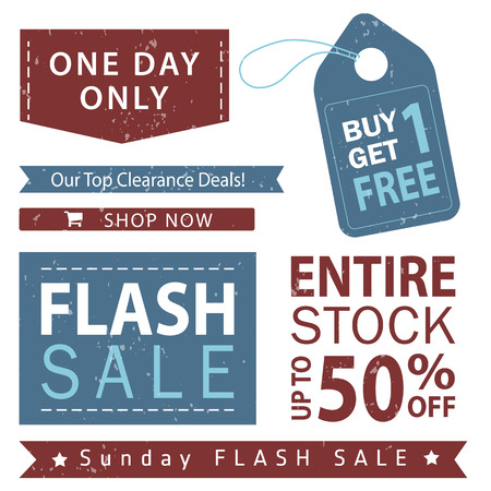 Flash sale banner set. Shop now, buy one get one free