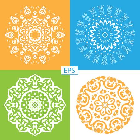 Mandala. Round Ornament Pattern Set. Vintage decorative elements. Hand drawn background.