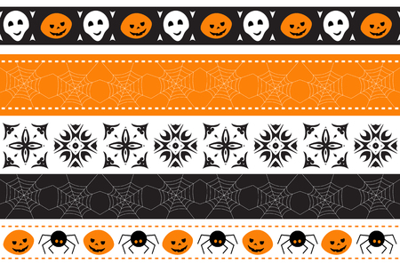 Seamless Halloween border with pumpkins and spiders. Vector illustration.