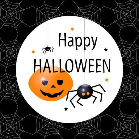 Hanging spiders. Happy Halloween card. Flat design Vector illustration.