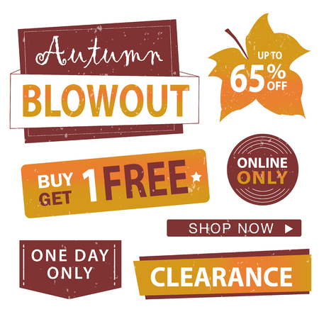 buy one get one free: Autumn sale banner set. Shop now, buy one get one free, vector illustration.