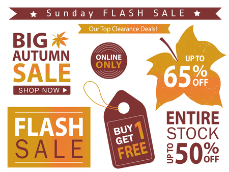 Flash sale banner set. Shop now, buy one get one free, vector illustration.