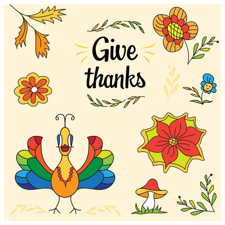 Thanksgiving hand drawn vector elements for cards and posters.