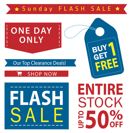 clearence: Flash sale banner set. Shop now, buy one get one free, vector.