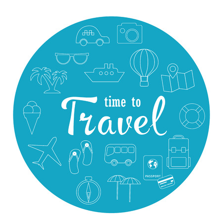 Time to Travel . Vector icon set Illustration