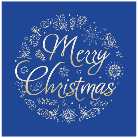 greeting: Christmas Greeting card with hand drawimg elements. Vector illustration.