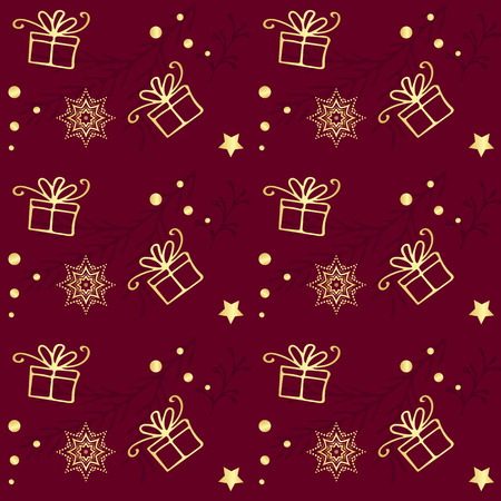 motivos navideños: Christmas seamless pattern. Vintage decorative elements. Hand drawn background. Christmas motifs. Perfect for printing on fabric or paper. Vectores