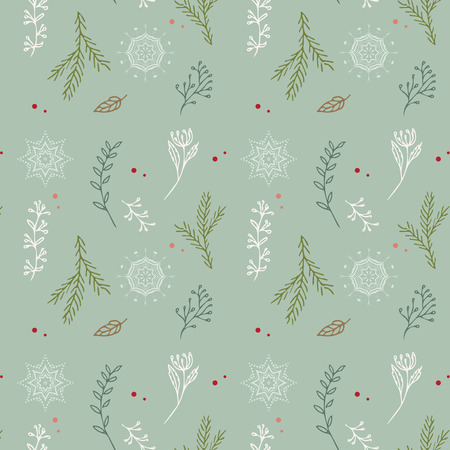 Christmas seamless pattern. Vintage decorative elements. Hand drawn background. Christmas motifs. Perfect for printing on fabric or paper. Illustration