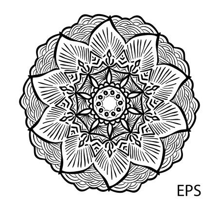 Mandala. Round Ornament Pattern. Vintage decorative elements. Hand drawn background. Coloring pages Illustration