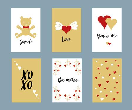 Valentijnsdag belettering kaartenset