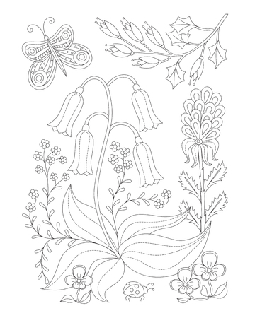Coloring page with vintage flowers. Handrawn ornament.