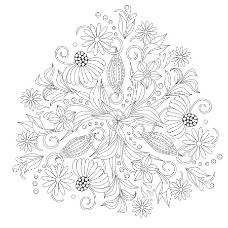 Coloring page with vintage flowers. Handrawn round ornament. 向量圖像