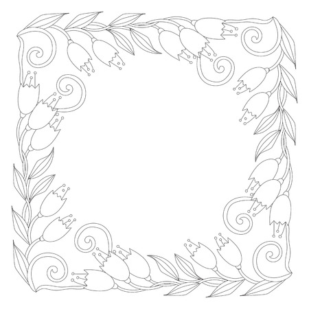 Coloring page with vintage flowers. Black and white. Handrawn ornament. 版權商用圖片 - 73342849