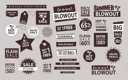 Sale banner set. Shop now, buy one get one free, vector. 版權商用圖片 - 78601176
