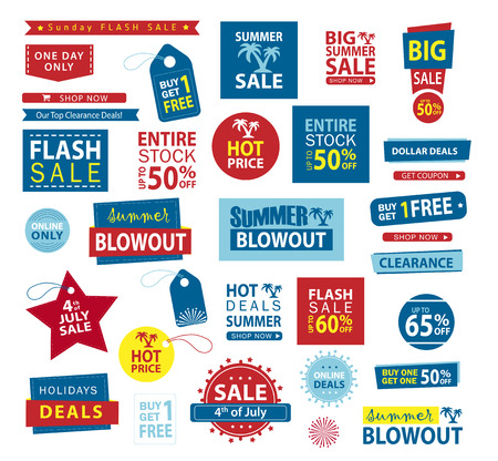 Sale banner set. Shop now, buy one get one free, vector.