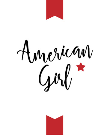 American girl, Fourth of July banner, typography