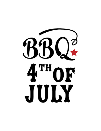 BBQ 4th of July, typography