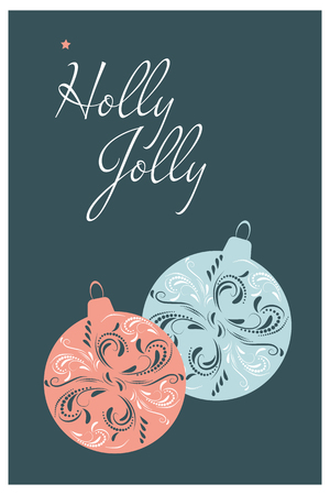 Christmas Card design. Holly Jolly. Hand drawn vector illustration. Çizim