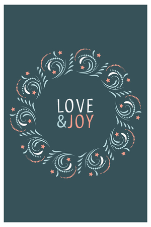Christmas Card design. Love and Joy. Hand drawn vector illustration.
