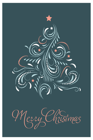 Christmas Card design. Merry Christmas. Hand drawn vector illustration.