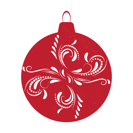 Christmas ball red isolated background, Vector illustration.