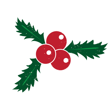 Vector illustration of holly berry, Hand drawn Christmas symbol.