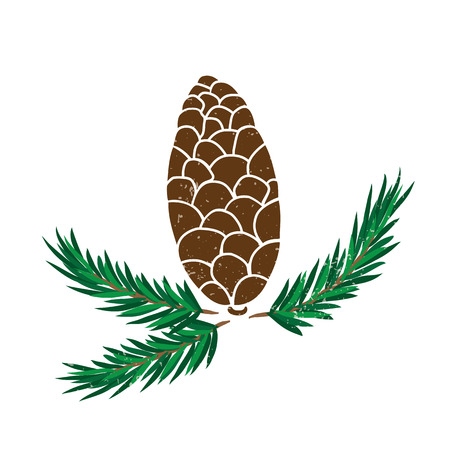 Vector illustration of pine cone with with branch, Christmas symbol.