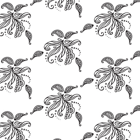 Black and white Floral Pattern Çizim