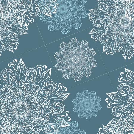 Christmas seamless pattern. Vintage decorative elements. Hand drawn background. Christmas motifs. Perfect for printing on fabric or paper. Çizim