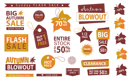 Autumn sale banner set. Flush sale, buy one get one free, vector. Çizim