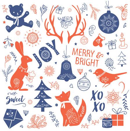 Ilustración de un conjunto de navidad