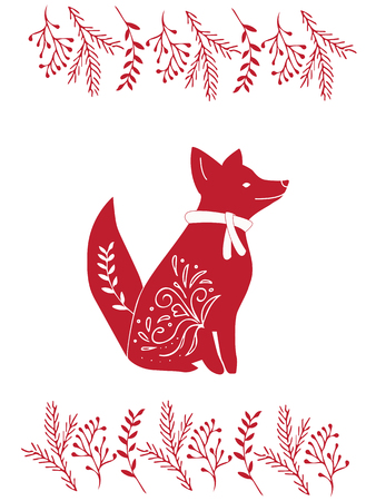Christmas Card design. Hand drawn illustration.