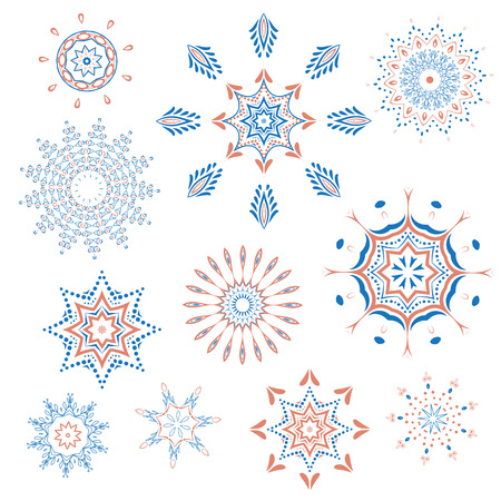 Collection of snowflakes happy new year, natural Christmas snowflakes, Christmas stars, isolated on white background for design
