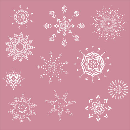 collection of snowflakes, natural Christmas snowflakes, Christmas stars, isolated for design