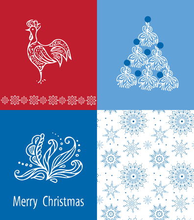 Christmas cards set with seamless winter patterns. Çizim